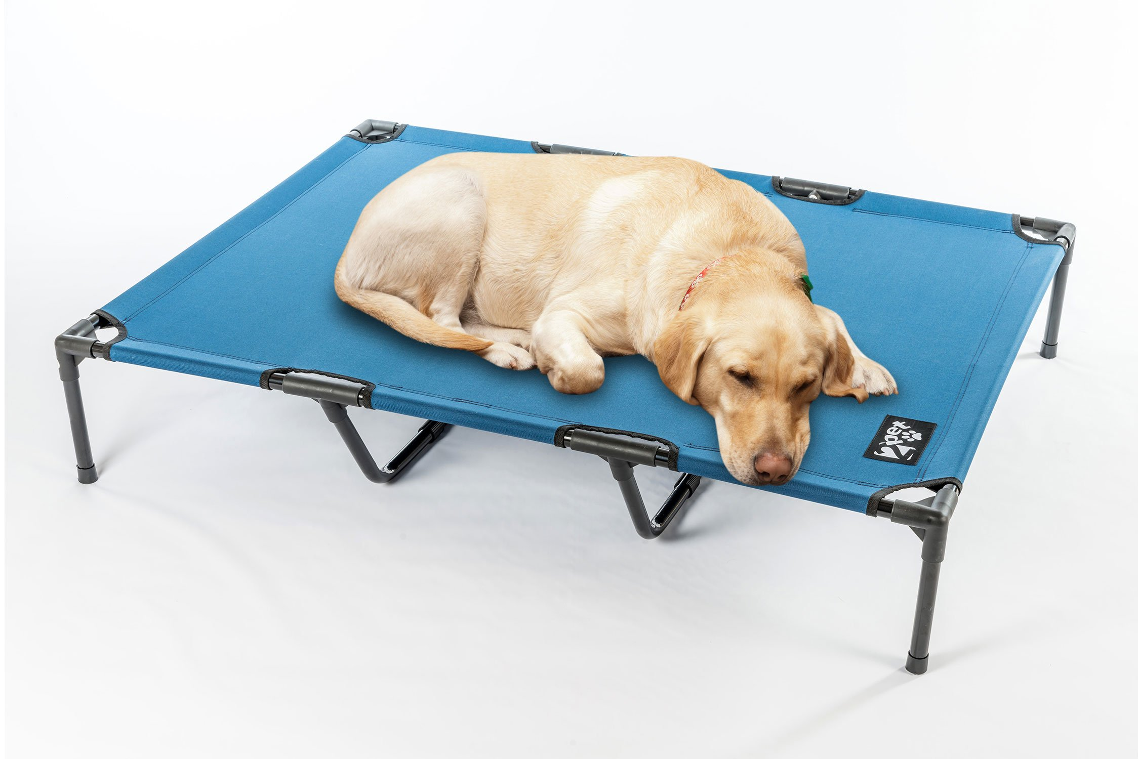 2PET Elevated Cooling Pet Bed, Pet Cot, Dog Bed with Breathable Mesh Fabric, Orthopedic, Easy Clean for Small, Medium, Large, Extra Large All Breeds and New Improved Nylon 1680D XL-Blue by 2PET