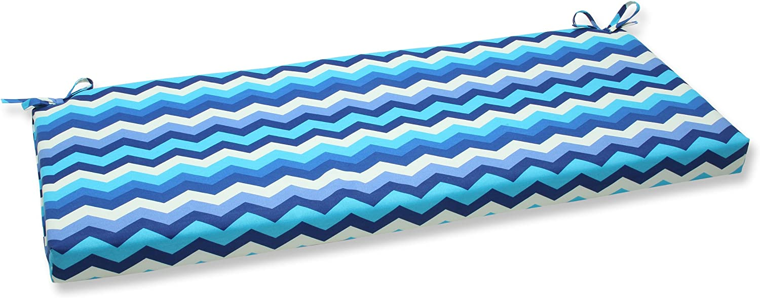 Amazon Com Pillow Perfect Outdoor Indoor Panama Wave Azure Bench Swing Cushion 45 X 18 Blue Home Kitchen