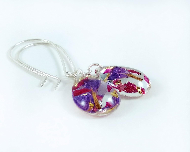 Sterling Silver Teardrop Real Flower Jewellery Set Purple Pendant and Dangle Earrings