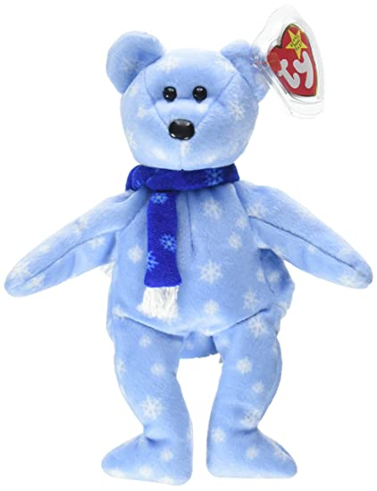 54c9188e3c8 Amazon.com  TY Beanie Babies 1999 Holiday Teddy Bear Stuffed Animal  PlushToy - 8 1 2 inches tall - Light Blue with Snowflake Design and Blue  Scarf  Toys   ...