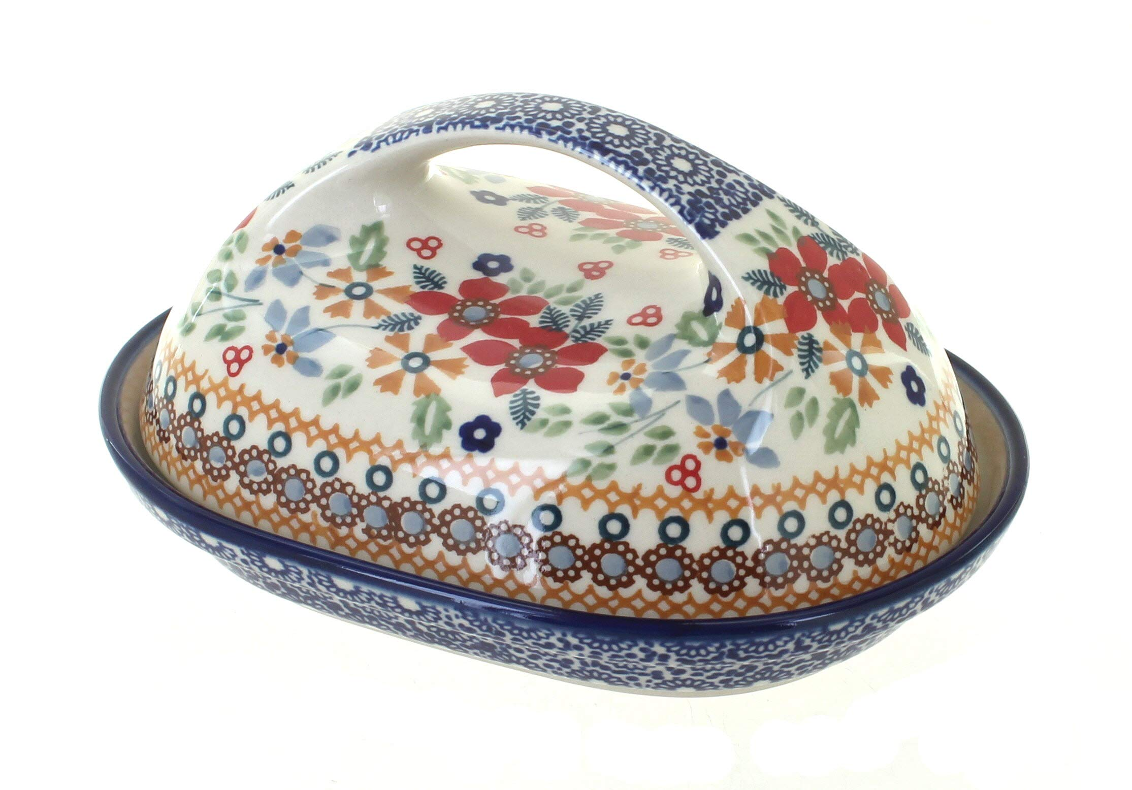 Blue Rose Polish Pottery Red Daisy Butter Dish