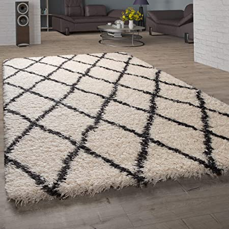 Teppich Shaggy Langflor Hochflor Teppich Rautenmuster in grau creme
