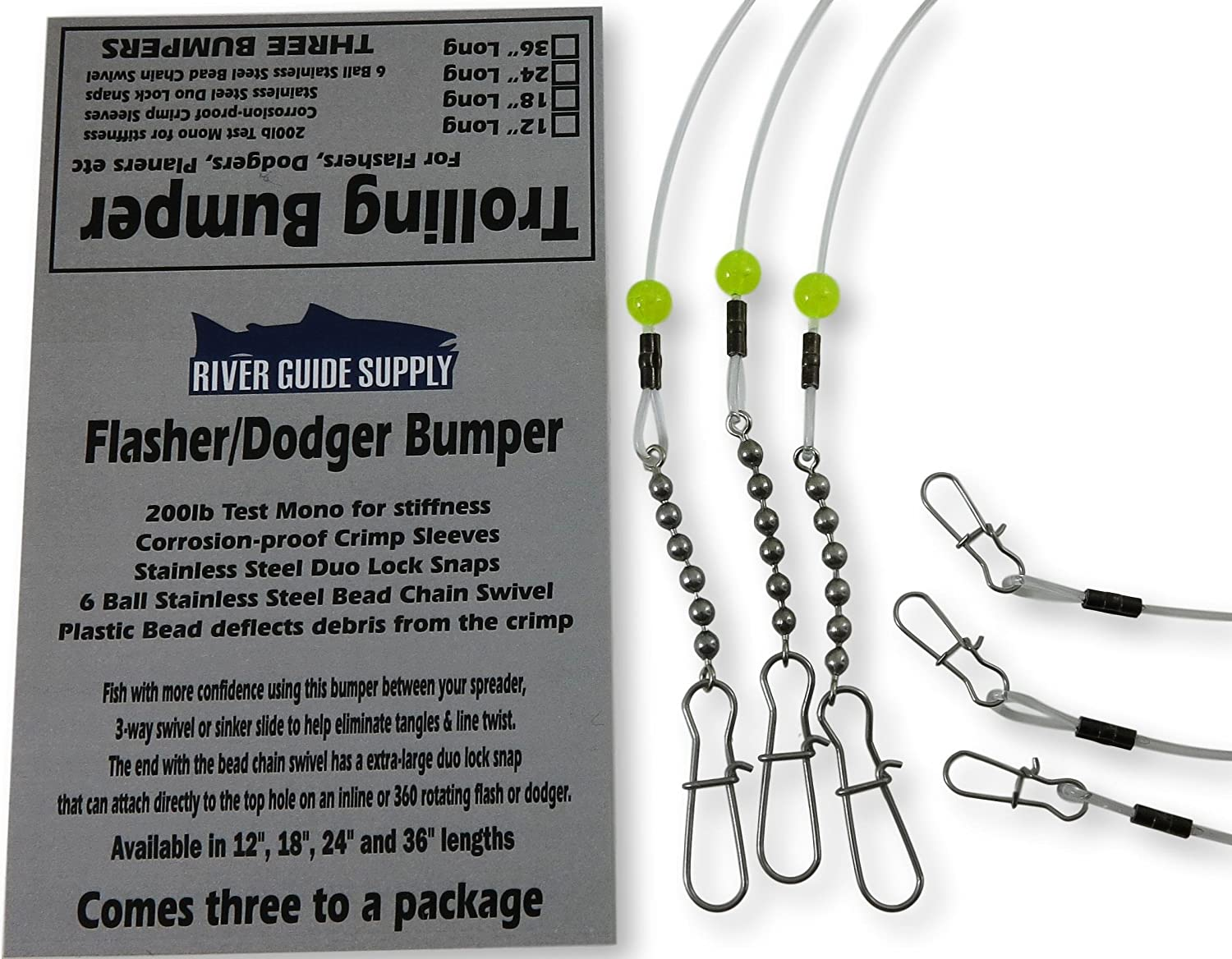 River Guide Supply Trolling Bumper for Trolling Flashers /& Dodgers 3 Pack