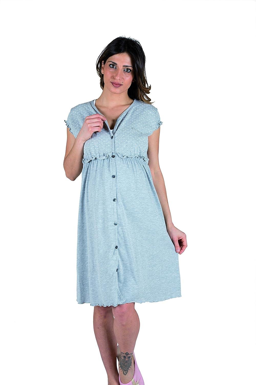 Premamy - Chemise Clinique pour maternité, ouvert robe avant, dans les deux sens coton stretch, pré-post-partum