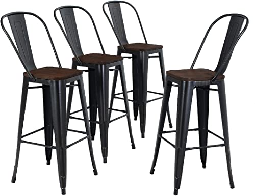ALPHA HOME 30 High Back Bar Stools with Wood Seat, Metal Indoor-OutdoorDining Cafe Chairs Stackable 4 Industrial Kitchen Counter Stool Patio Stool,Black Brush Rusty,Delivered Within 3-5 Working Days