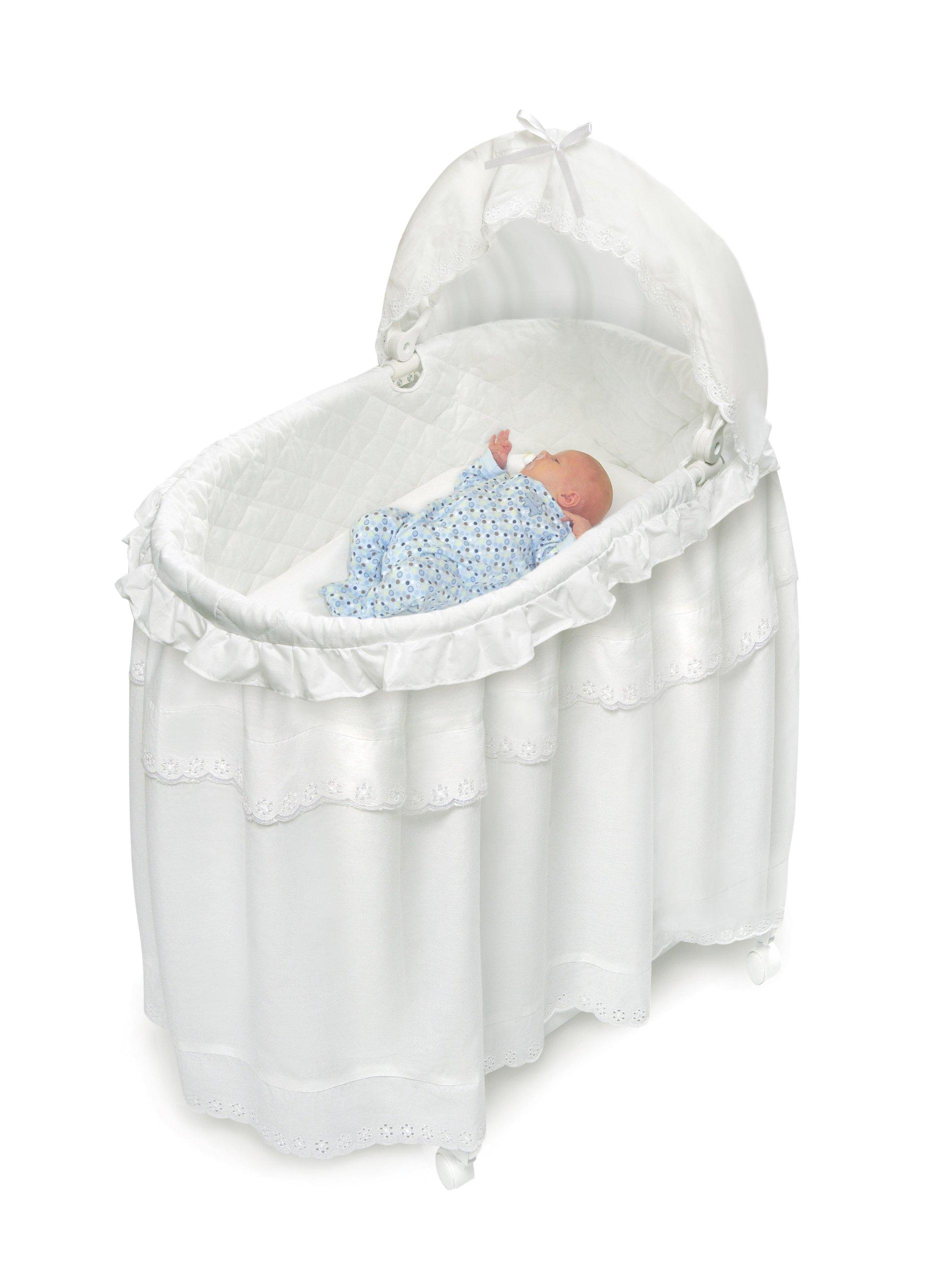 Badger Basket Long Skirt Portable Bassinet 'N Cradle with Toybox Base, White by Badger Basket (Image #2)