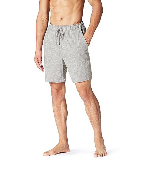 FIND Pantalón Corto de Pijama para Hombre, Gris (Grey Melange), Large