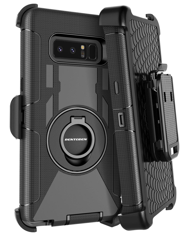 BENTOBEN Galaxy Note 8 Case Belt Clip, Heavy Duty Shockproof Kickstand Swivel Belt Clip Full Body Rugged Bumper Hybrid Holster Protective Case for Samsung Galaxy Note 8, Black by BENTOBEN