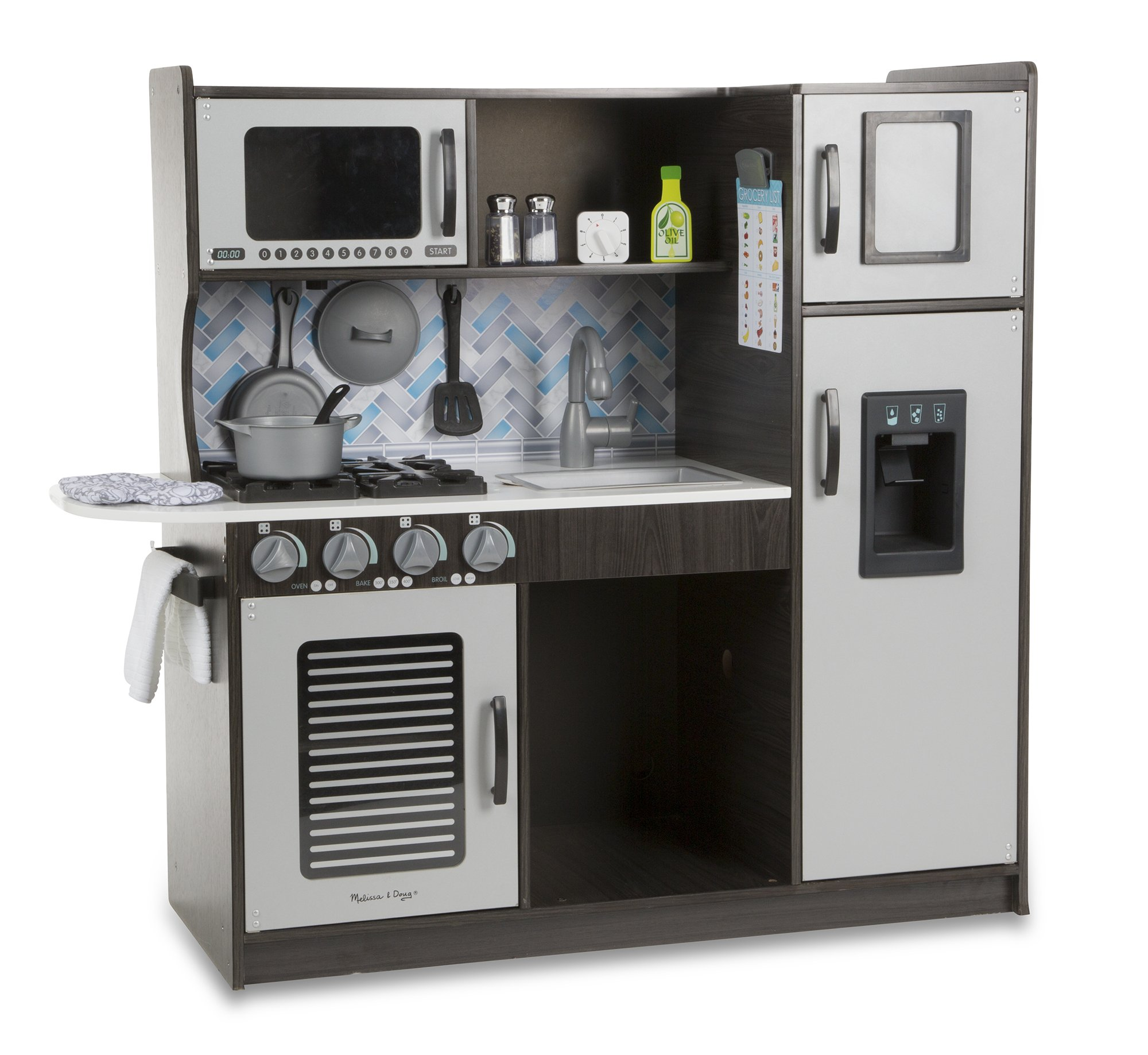 """Melissa & Doug Wooden Chef's Pretend Play Toy Kitchen With """"Ice"""" Cube Dispenser – Charcoal by Melissa & Doug (Image #5)"""