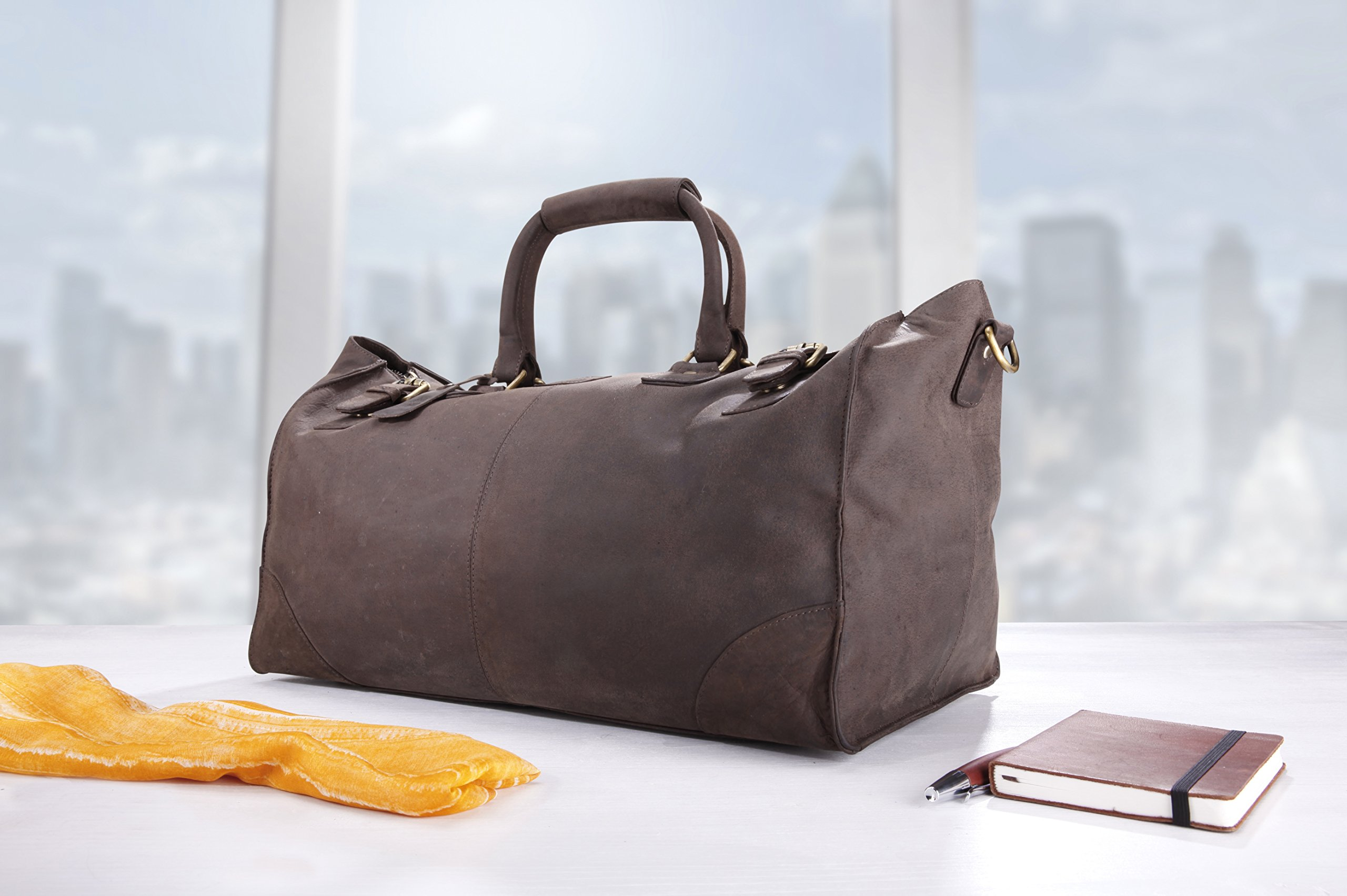 LEABAGS Durham genuine buffalo leather duffle bag in vintage style - Nutmeg by LEABAGS (Image #10)