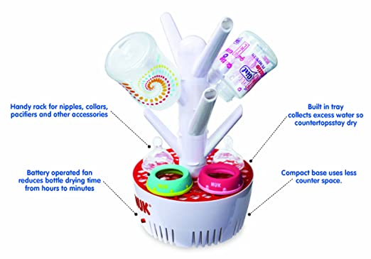 Amazon.com : NUK Fast Dry Battery Operated Bottle Rack (Discontinued by Manufacturer) : Baby Bottle Drying Racks : Baby