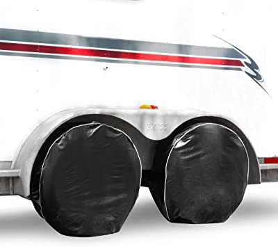 Fits 26 to 29 Tire Diameters PEVA PEVA Tire Covers for RV Wheel,Power Tiger Set of 4 Motorhome Tire Covers,Waterproof Oxford Tire Protectors Wheel Cover,Fits 26 to 29 Tire Diameters 5558998199