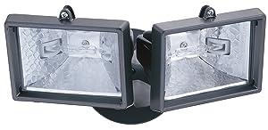 Lithonia Lighting OFTM 300Q 120 LP BZ M6 Mini Twin-Head Flood Light 150-Watt Double Ended Quartz Halogen Lamps, Black Bronze