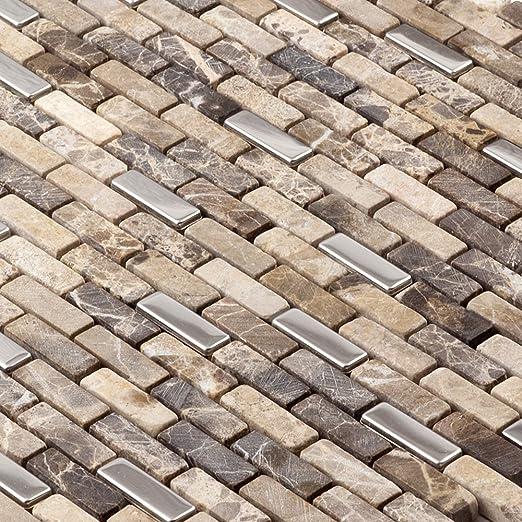 Backsplash Wall Tiles For Kitchen Mosaic 12x12 Sheets Shower Bathroom Wall  Stone Metal Grey Brown Green   Martini Mosaic   Muro   Roman Stone, 6 SQ.