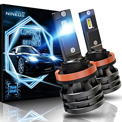 NINEO H11 LED Headlight Bulbs w/Small Size,10000LM 6500K Cool White CREE Chips H8 H9 All-in-One Conversion Kit: Automotive [5Bkhe1509237]