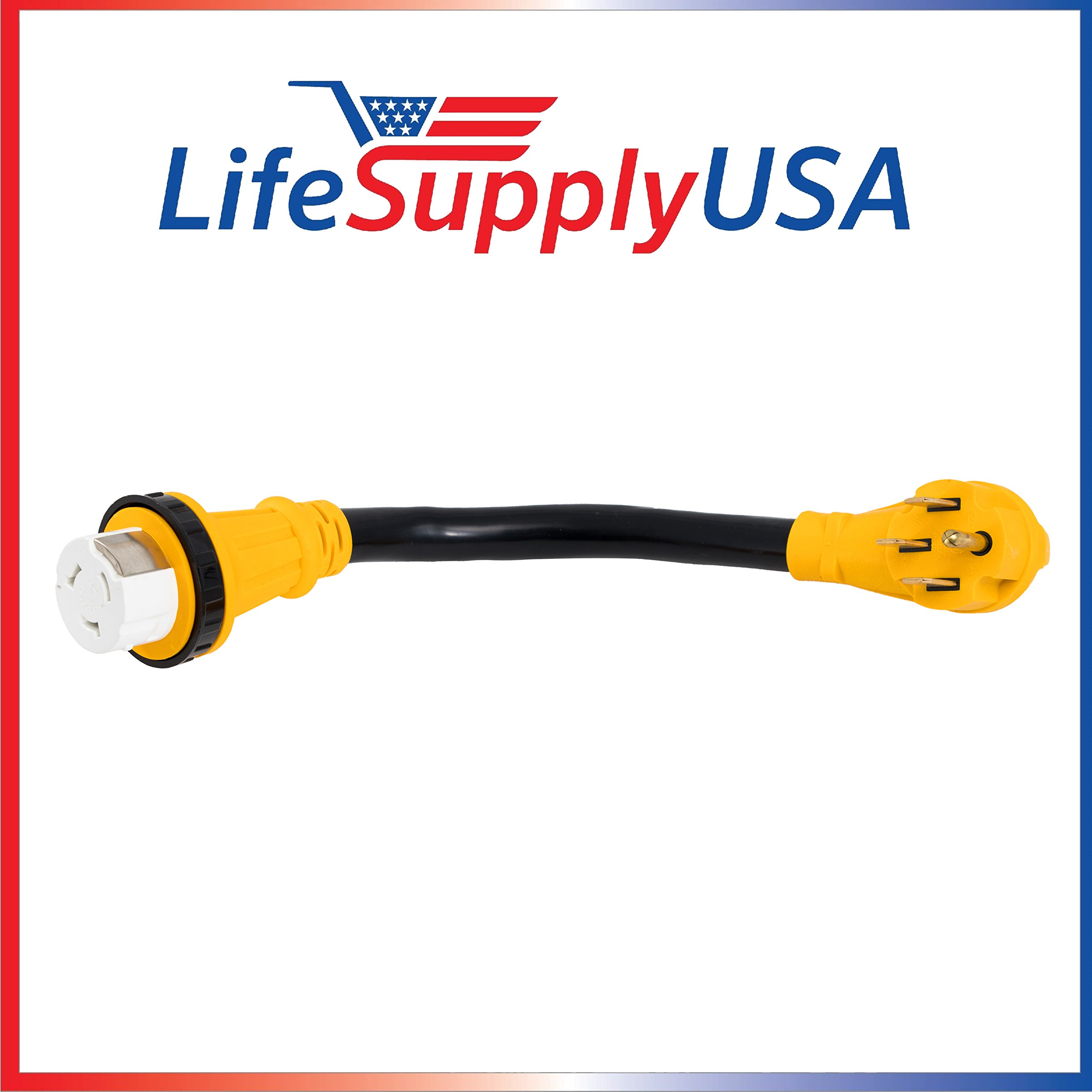 6/3 AWG + 8/1 AWG 50ft 125 Volt 50 AMP RV Cord With TWIST-LOCK Connector and Grip Handle (14-50P/SS2-50R) 125/250V STW Velcro ETL 50 Feet