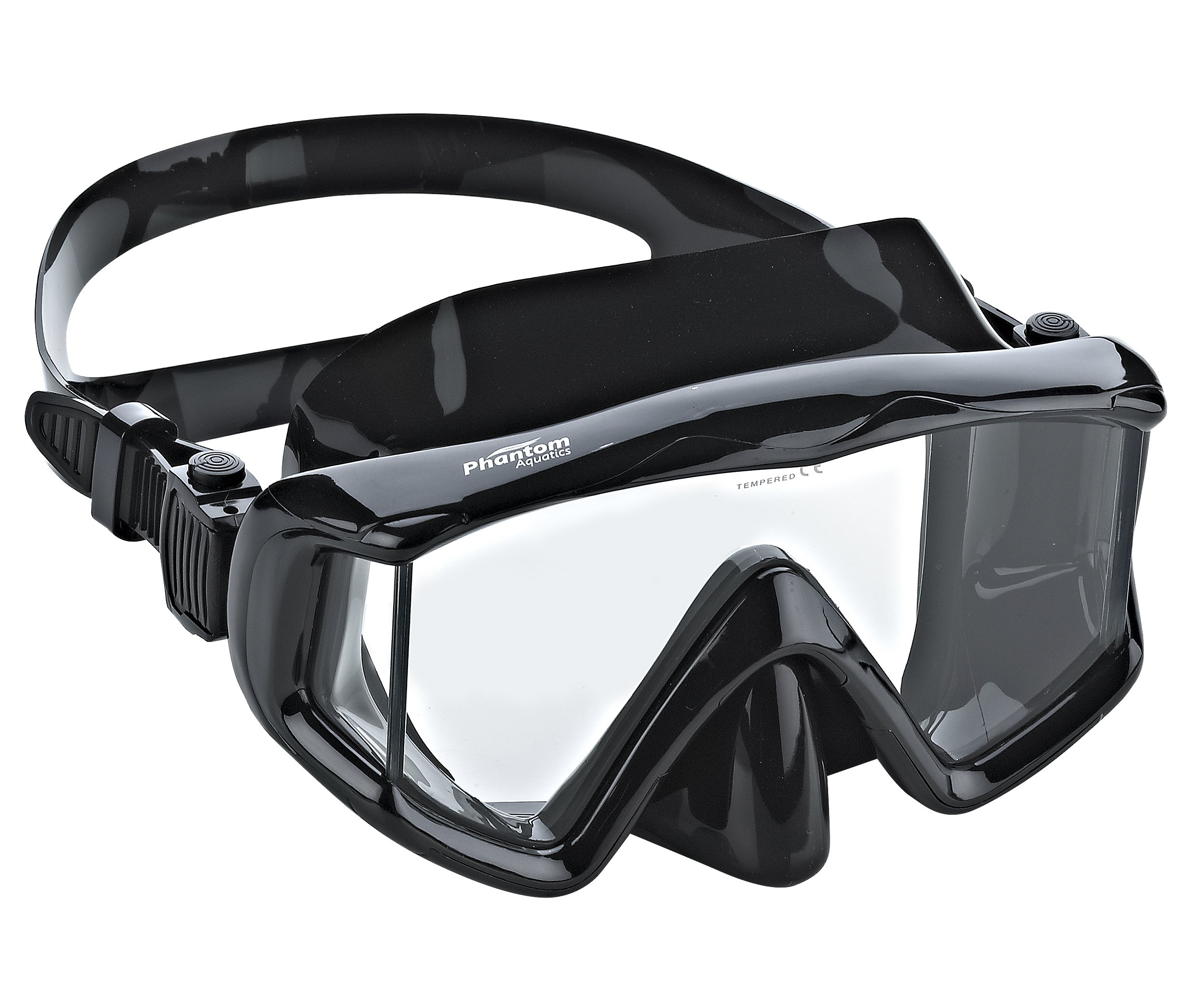 Phantom Aquatics Panoramic Scuba Snorkeling Dive Mask, All Black by Phantom Aquatics