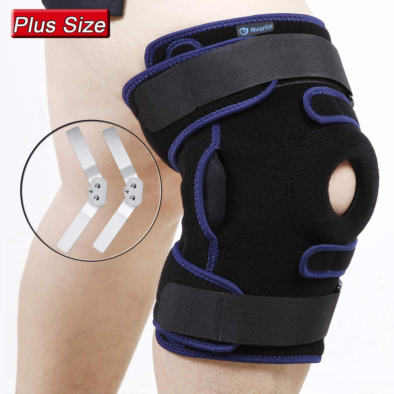 Nvorliy Plus Size Hinged Knee Brace Dual Strap Patellar Stabilization Design & High-Level Support for Arthritis, ACL, LCL, MCL, Meniscus Tear, TDislocation, Post-Surgery Recovery Fit Men & Women (XL) by Nvorliy