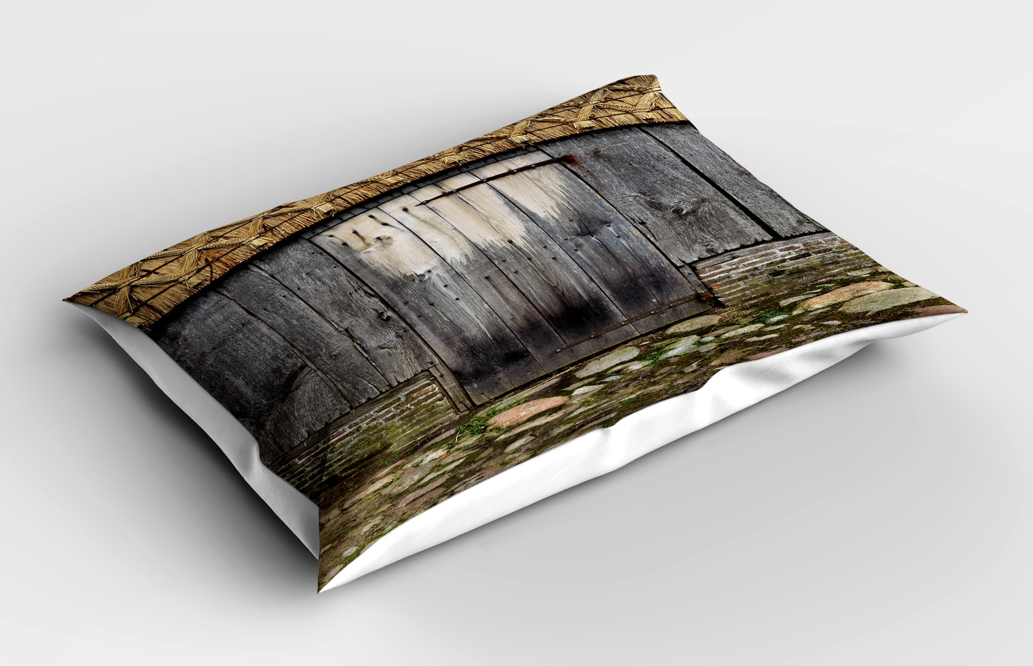 Lunarable Rustic Pillow Sham, Old Wood Barn Door with Nature Items on Roof Village Town Rural Life Theme Artwork Print, Decorative Standard Queen Size Printed Pillowcase, 30 X 20 inches, Brown by Lunarable (Image #2)