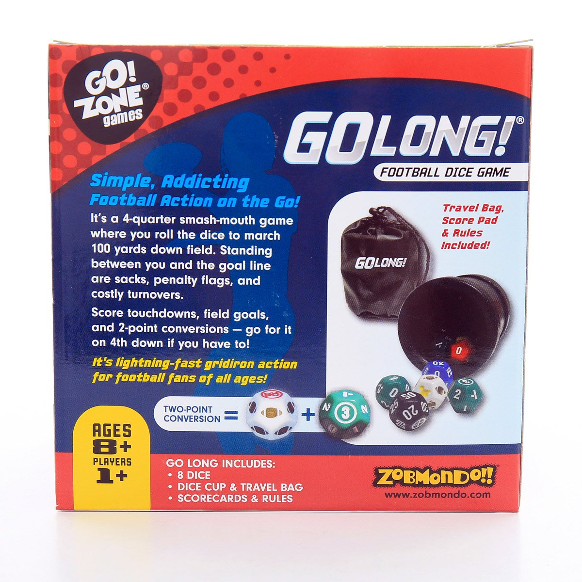 Zobmondo!! Award winning Dice Game, GoLong! A Football Dice Game - Super Fun Game - Portable, Playing Dice : Perfect For - Travel, Home, Parties, Gifts, Stocking Stuffers by Zobmondo!! (Image #2)