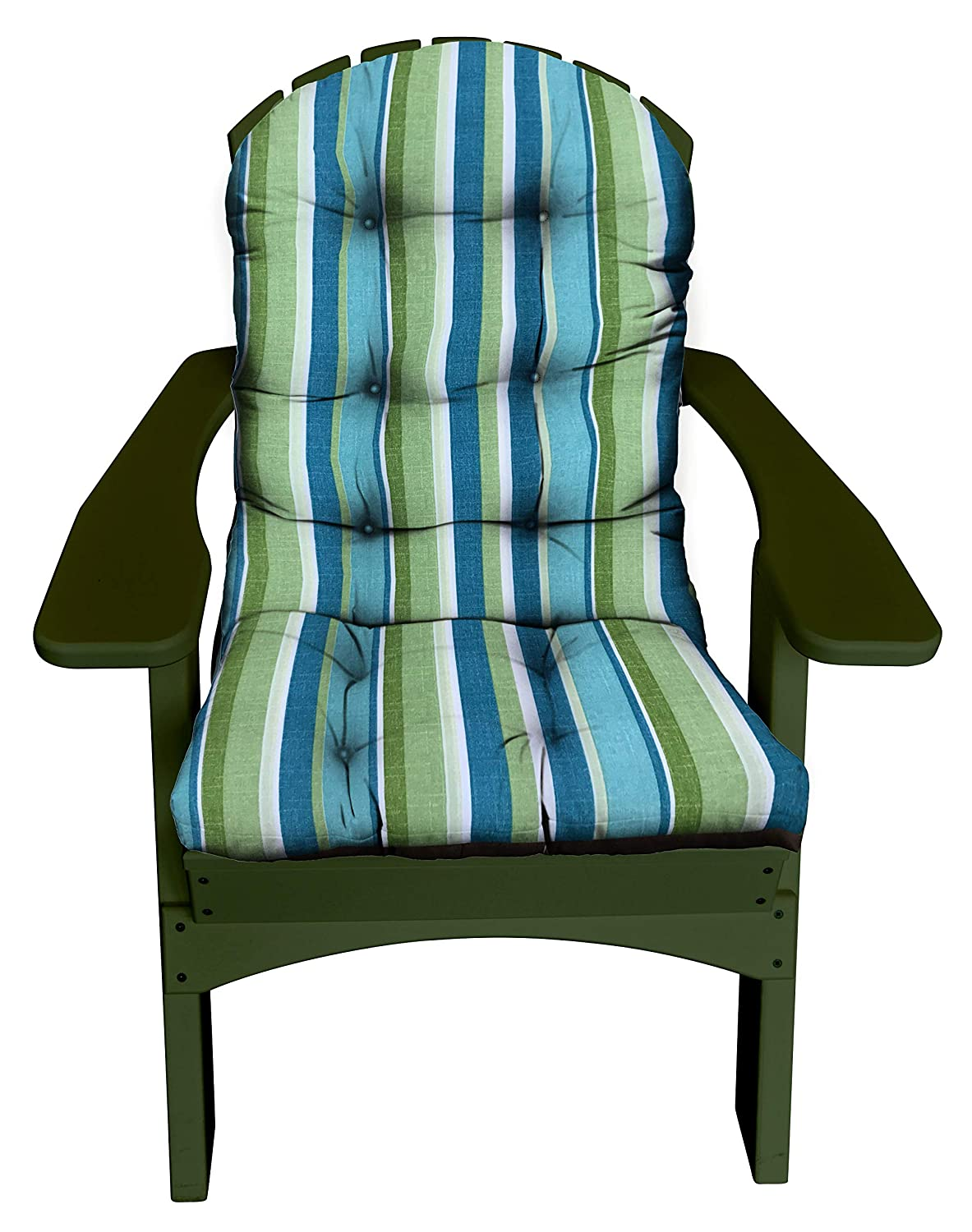 RSH D cor Indoor Outdoor Tufted Adirondack Chair Cushion Stain Weather Resistant Seat Pad Great for Porch, Patio, Deck and Home Decor Choose Color Aqua Blue Kiwi Green Cream Stripe
