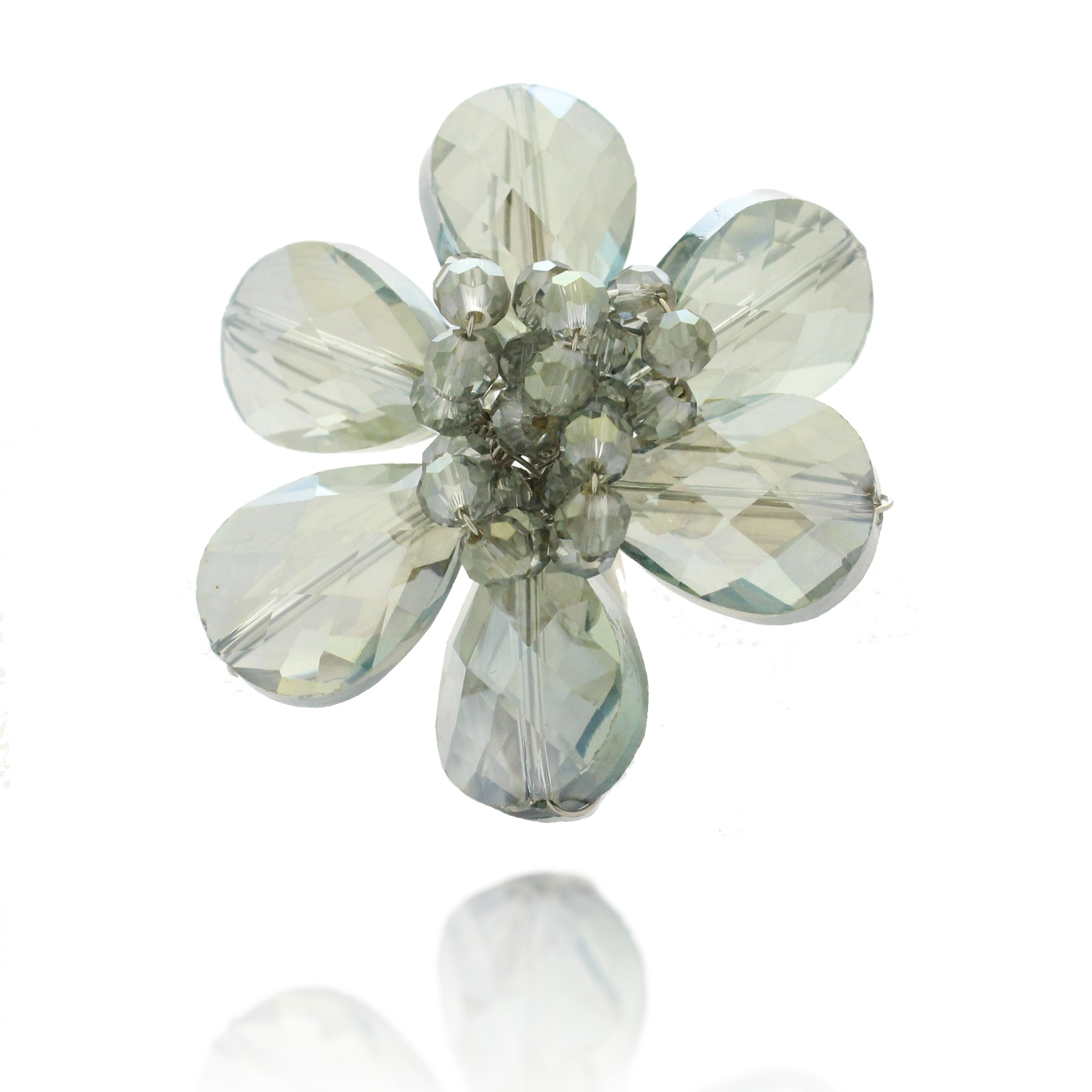 Chuvora Zinc Handwired Gray Crystal Glass Beads Flower Adjustable Ring