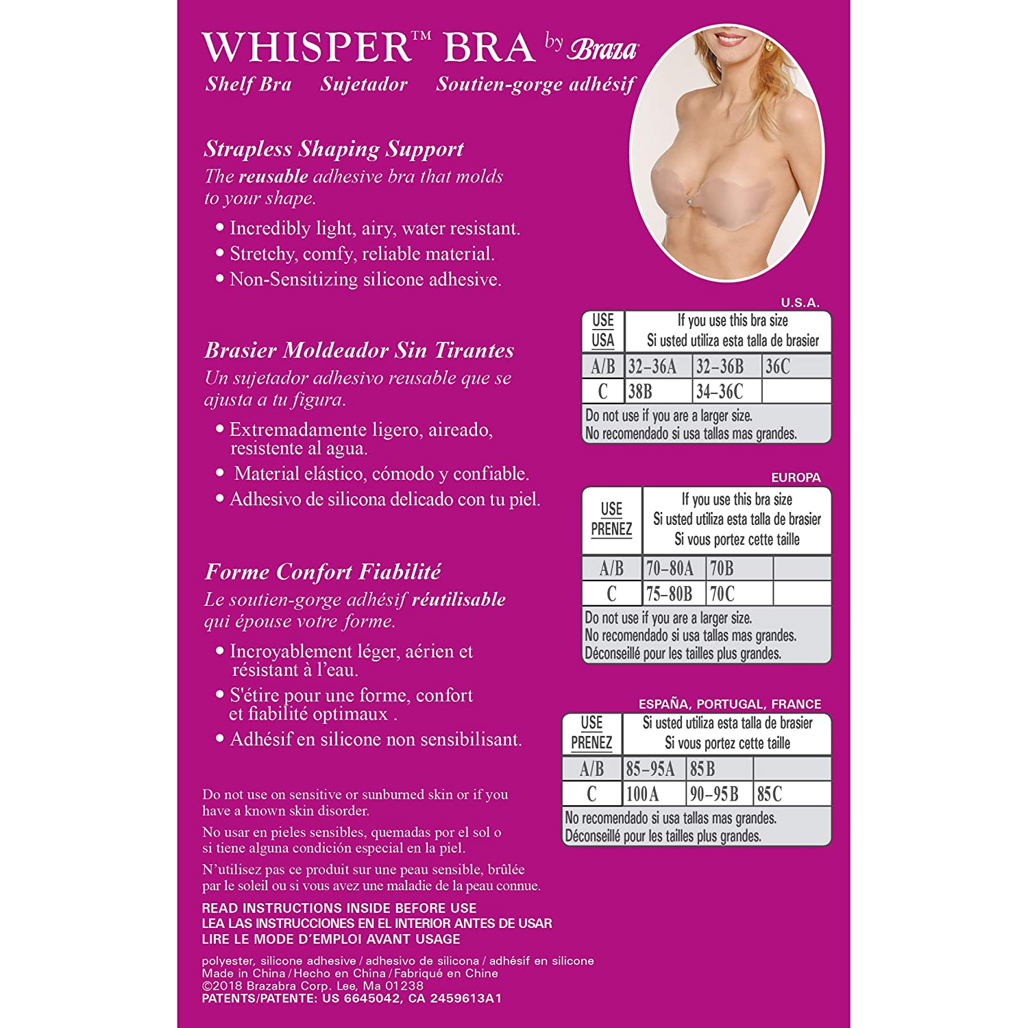 Braza Strapless Adhesive Reusable Whisper Bra at Amazon Womens Clothing store: