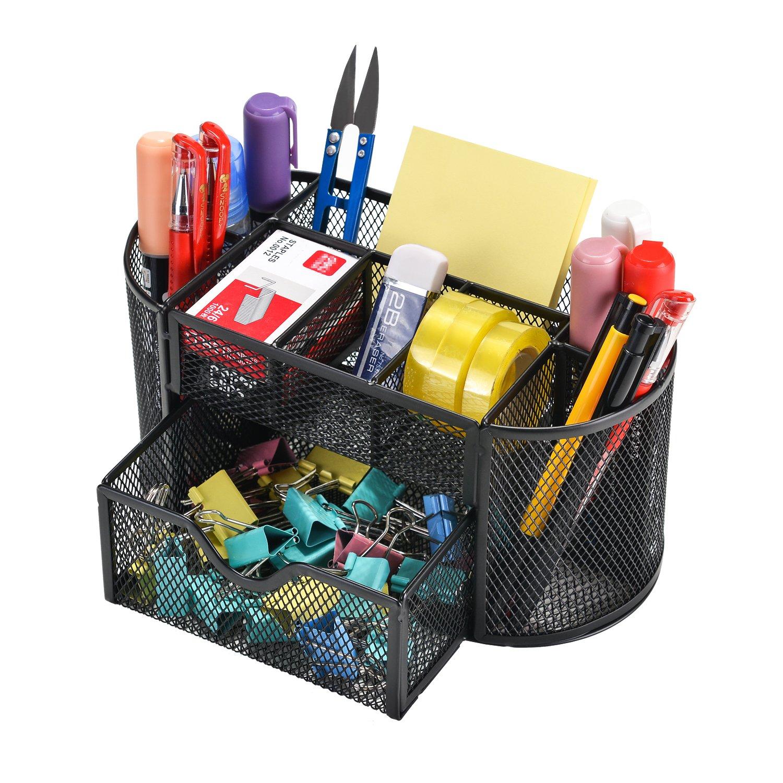 Mesh Desk Organizer Caddy, AGPtEK Office Supplies Set with 9 Space Saving Drawer for School, Study & Work Use, Black