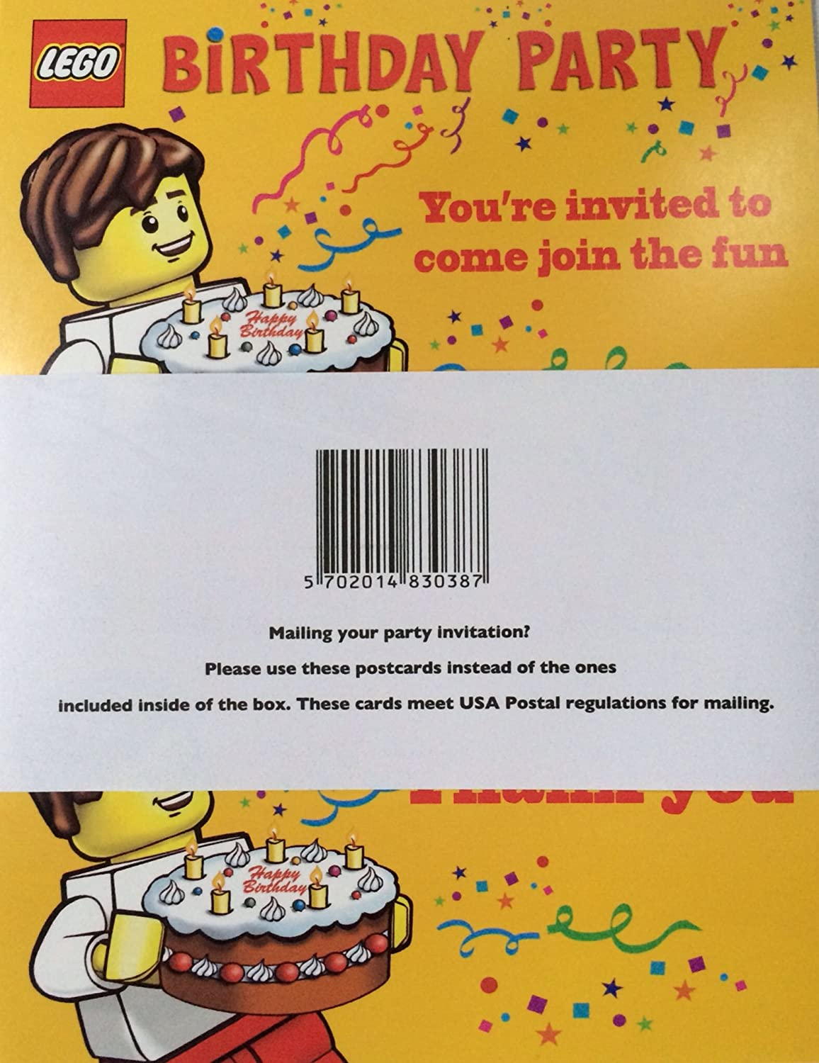 Lego Birthday Party Invitations - Pack of 10 Invitations: Amazon.co ...