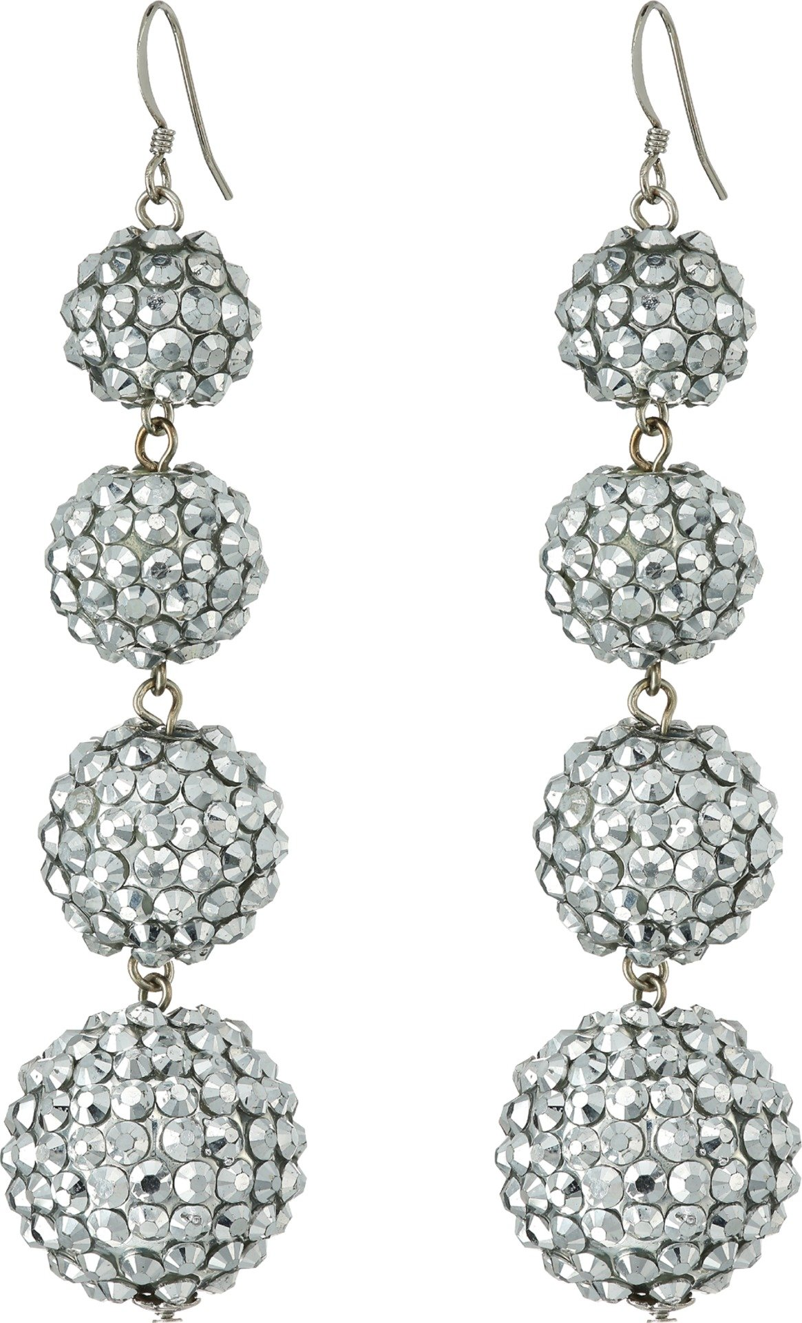 Kenneth Jay Lane Women's Graduated 4 Ball Sparkly Crystal Fish Hook Top Ear Earrings Crystal One Size