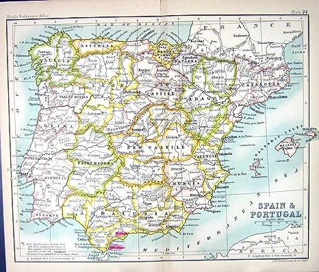 MAPA ANTIGUO c1901 ESPAÑA PORTUGAL MAJORCA IBIZA MINORCA GIBRALTAR: Amazon.es: Hogar