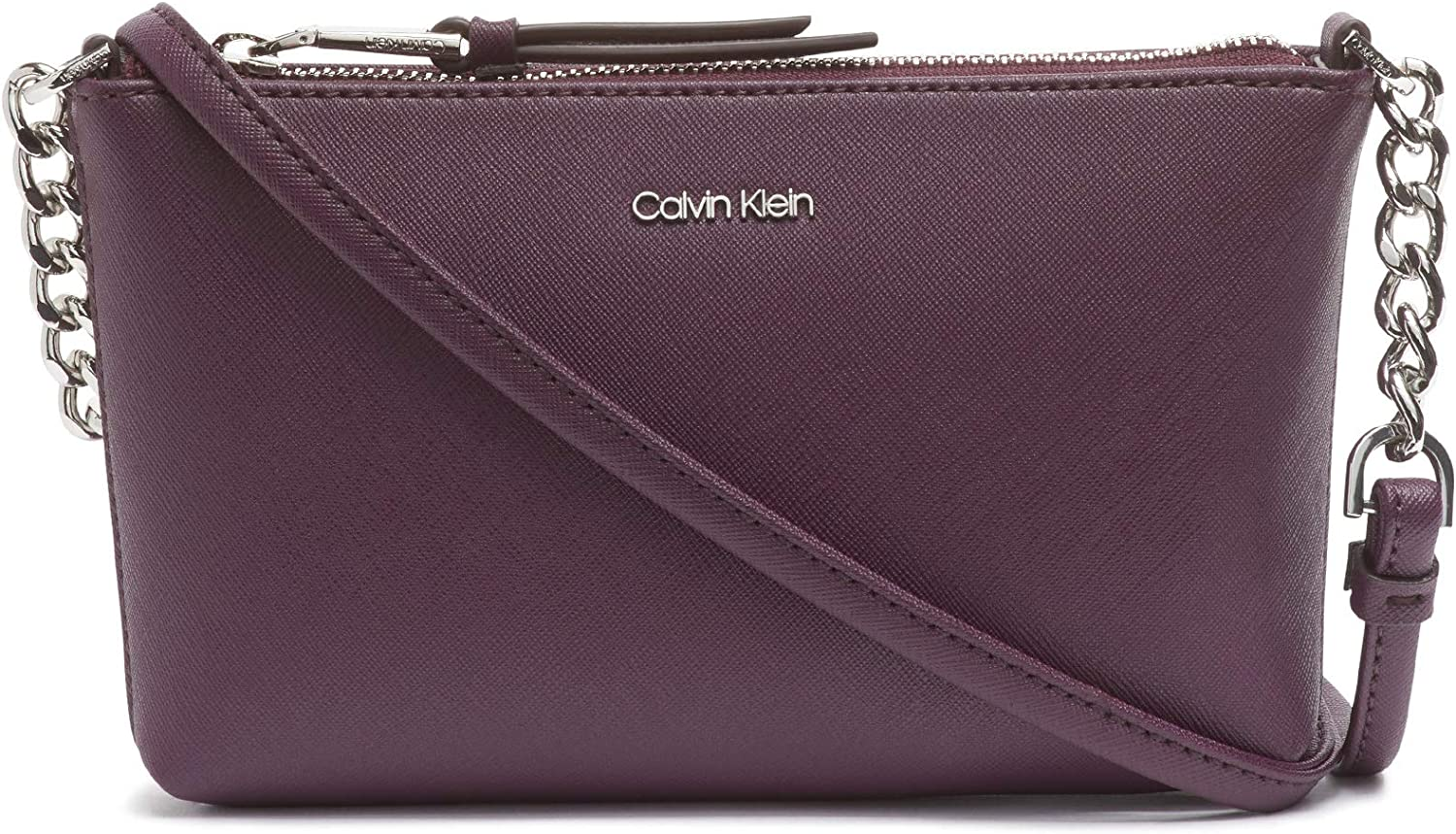 Calvin Klein Hayden Key Item Saffiano Top Zip Chain Crossbody, Eggplant