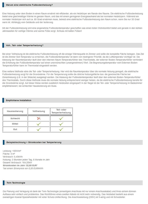 VILSTEIN/© Elektrische Fu/ßbodenheizung Elektro Fu/ßboden-Heizmatte 150W//m/² f/ür Fliesen-boden Fu/ßboden-Heizsystem Elektrisch inkl Thermostat TWIN Technologie Komplett-Set 10m/² - 20m lang // 0,5m breit