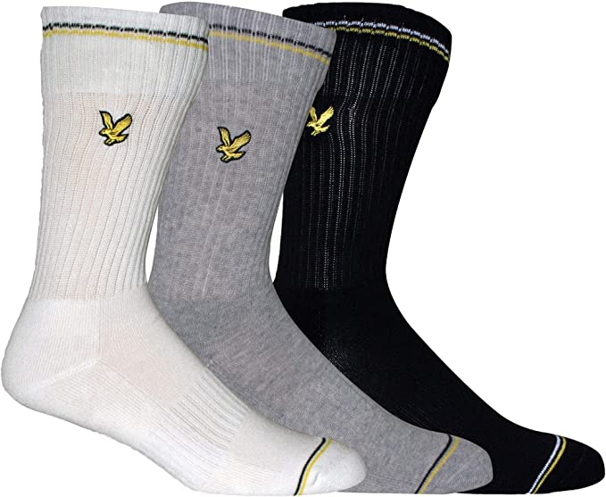 Lyle /& Scott 3-Pack Logo Aigle à Rayures Chaussettes De Sport Hommes Noir//Blanc//Gris
