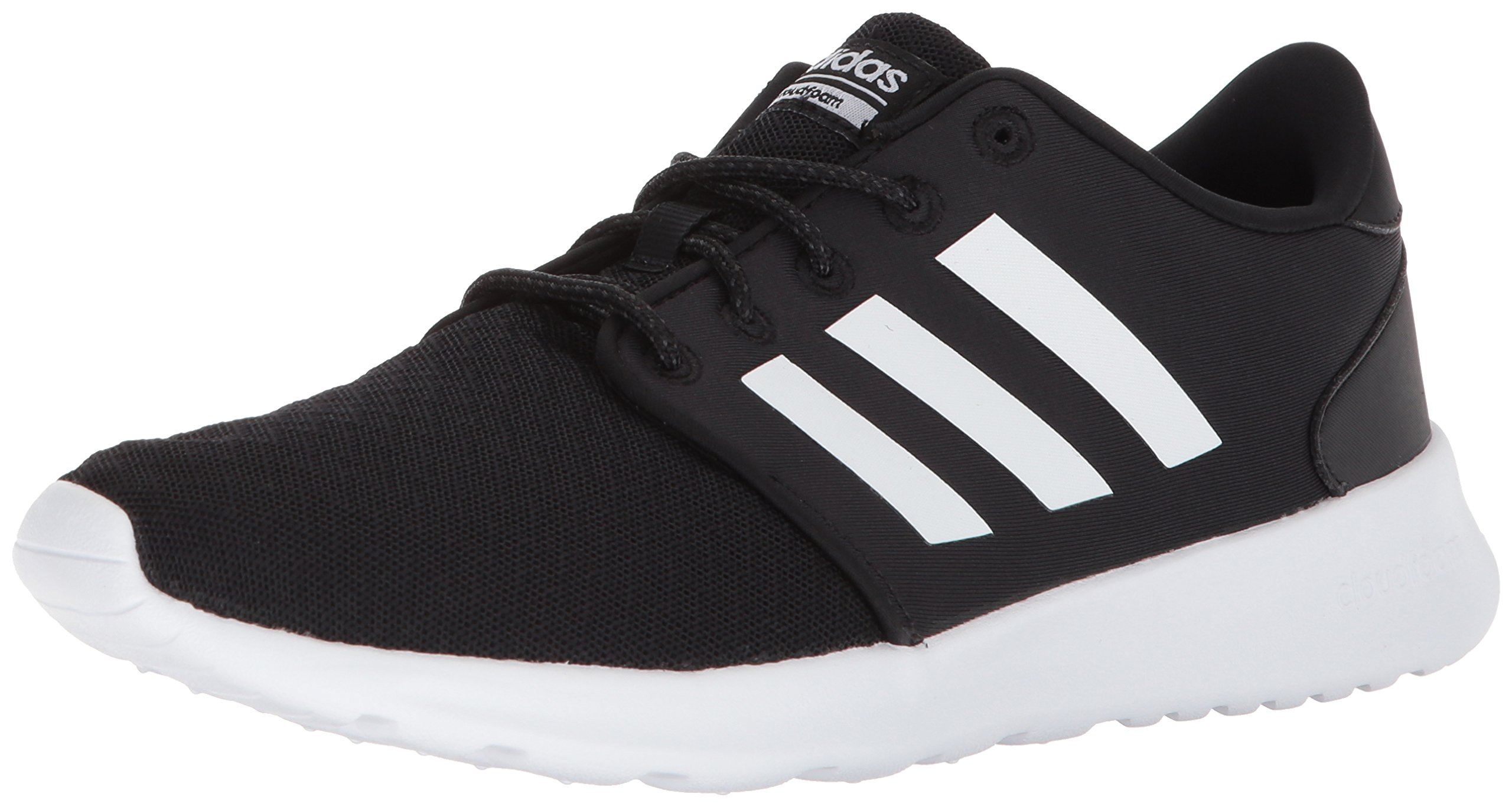 adidas Women's Cloudfoam QT Racer Running Shoe, Black/White/Carbon, 5 M US