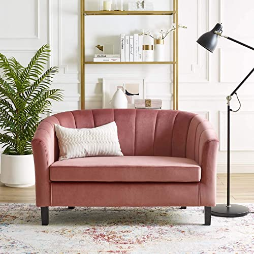 Modway Prospect Channel Tufted Upholstered Velvet Loveseat, Dusty Rose