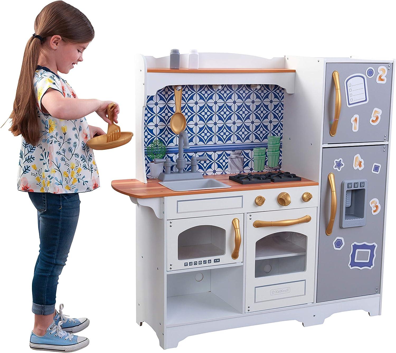 Natural-White KidKraft 53423 Modern-Day Wooden Pretend Play Toy Kitchen for Kids-EZ Kraft Assembly 53423-Modern-Day