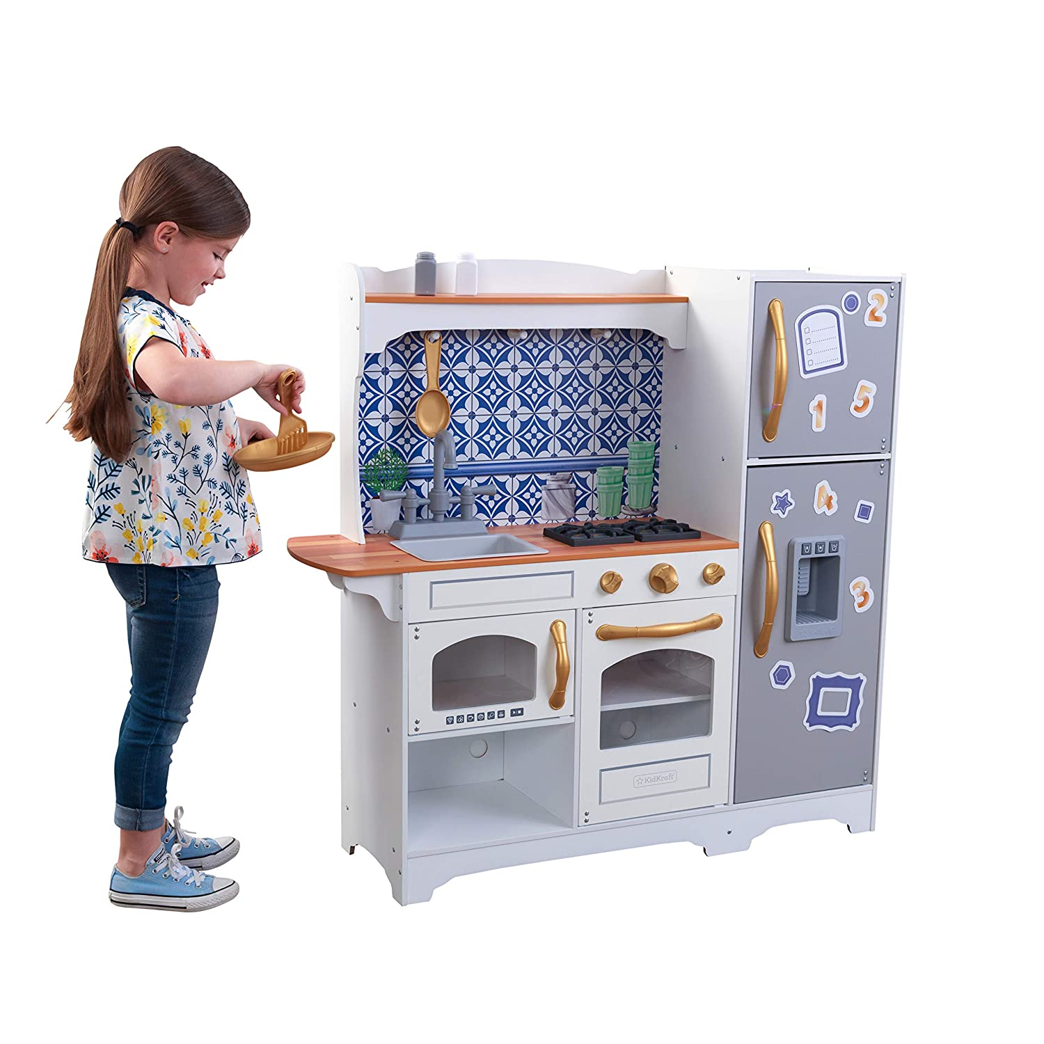 KidKraft Wooden Mosaic Magnetic Play Kitchen with Magnets