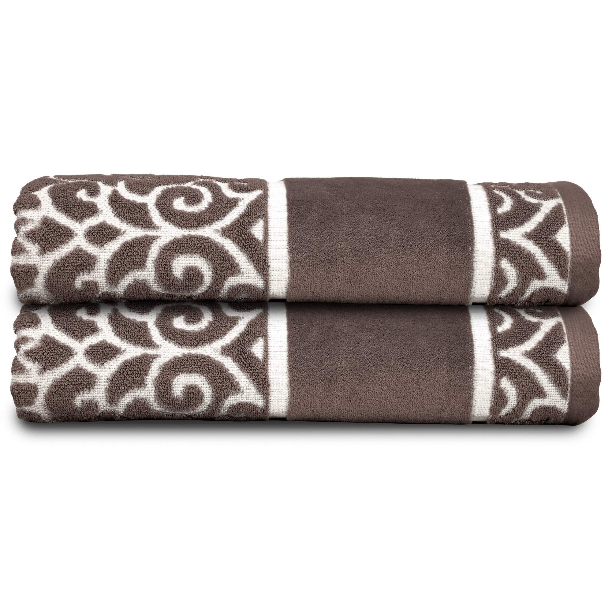 Soft Textilz Elegant 2 Piece Lightweight Luxury Bath Towels - Premium European Decorative & Absorbent - Fancy Home/Guest Bathroom Cotton Towel 51'' x 27'' - Charm Design Brown