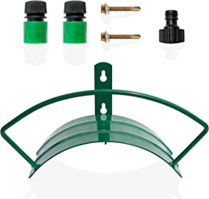 PATSONᵀᴹ Garden Hose Hanger with Wall Mounting Attachments, Powder Coating and Reinforced Wrought Iron, 3 Piece Hose Quick Connect Set Included, Fits 125 Feet of Hose.
