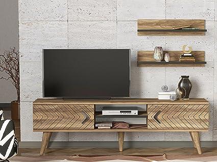 LaModaHome Tv Stand Unit Wood Zig Zag Walnut Design Form Old