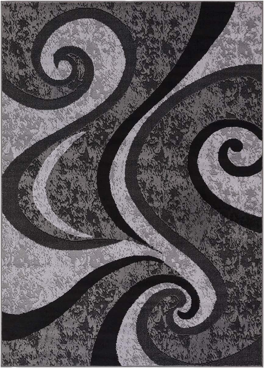 Princess Collection Geometric Swirl Abstract Area Rug, 7 10 x 10 2 , 808 Light Grey Grey