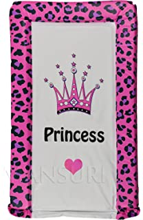 Baby Changing Mat Padded Luxurious Comfortable Leopard Printed With Princess Text And Crown Fuchsia Leopard