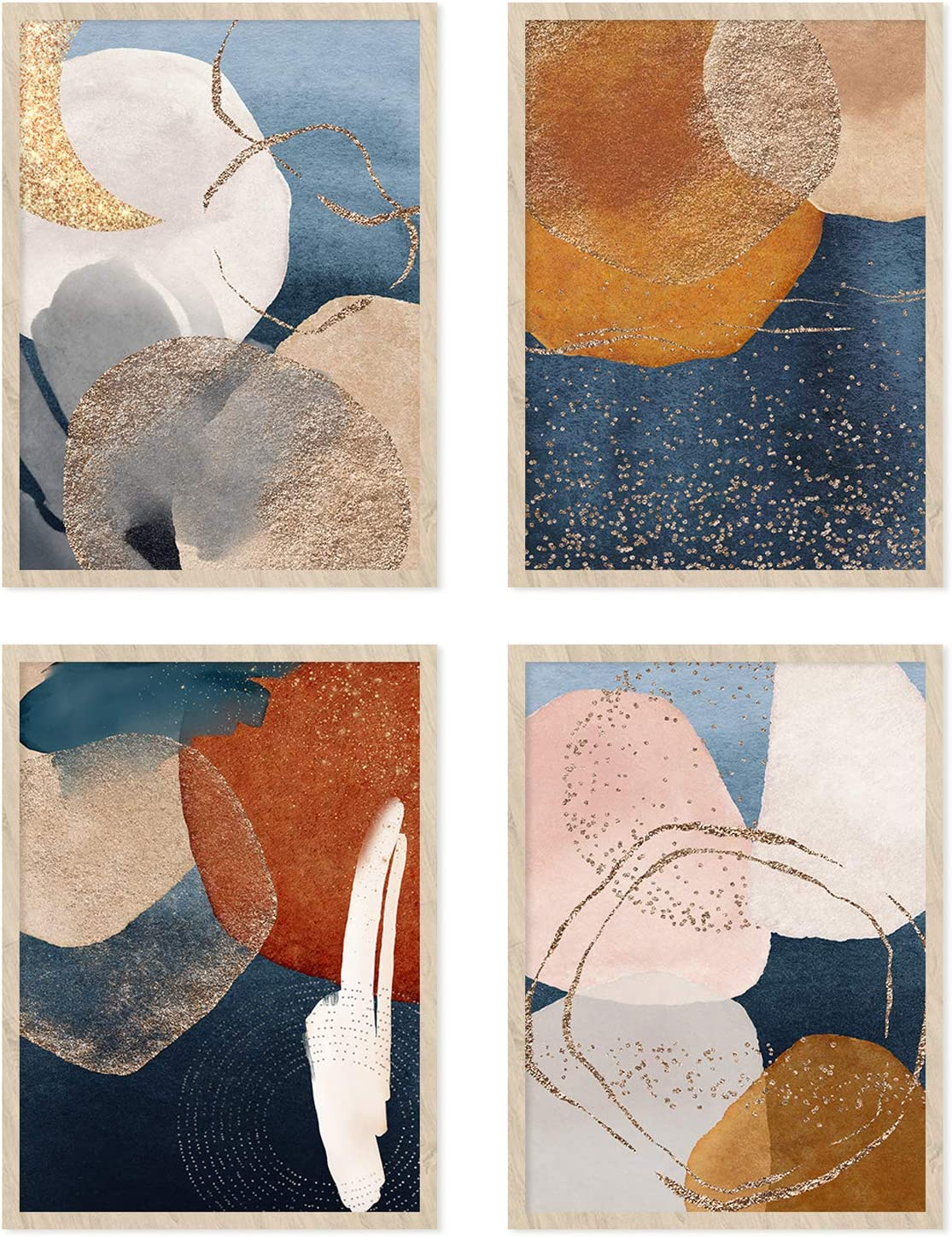 YUMKNOW Boho Abstract Wall Art - Unframed 11x14 Set of 4, Mid Century Modern Wall Decor for Bathroom, Minimalist Wall Art Print, Boho Room Decor for Office Gold Posters, Home Kitchen Bohemian Picture