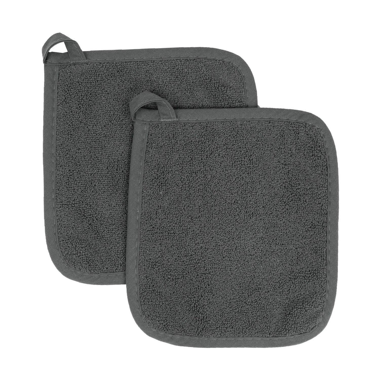 Ritz Royale Collection 100% Cotton Terry Cloth Pot Holder Set, Kitchen Hot Pad, 2-Pack, Graphite
