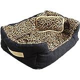 Eyepower lettino per animali domestici Niclas S   leopardato   ca. 52x40x16cm   con cuscino amovibile   base gommata