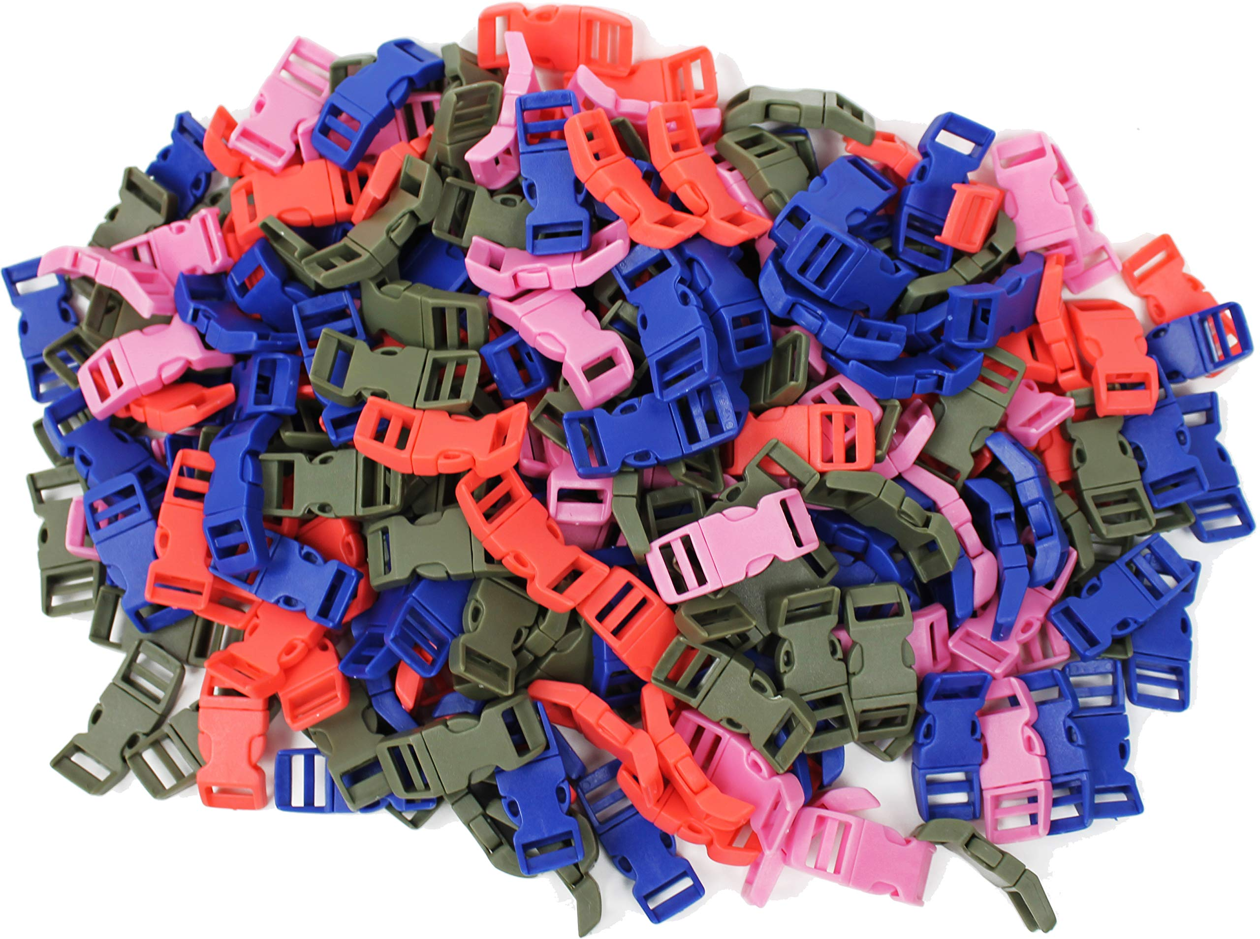 5/8'' Contoured Side Release Buckles Wholesale Lot Curved Plastic Buckles Assorted Solid Colors (Choose from 1,000, 5,000 or 10,000 Buckles) (5000) by Army Universe