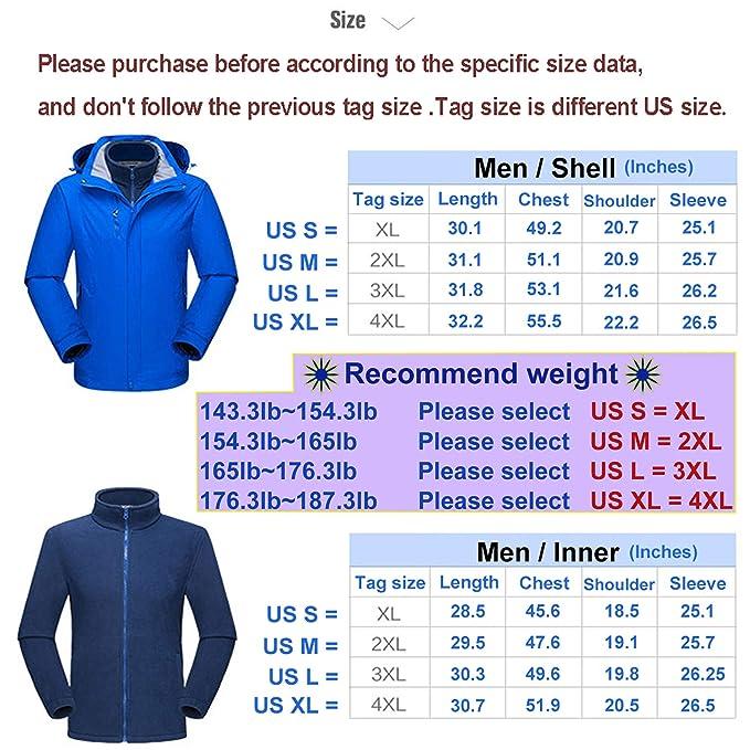 Amazon.com: NOVMAY - Chaqueta de esquí para hombre, 3 en 1 ...