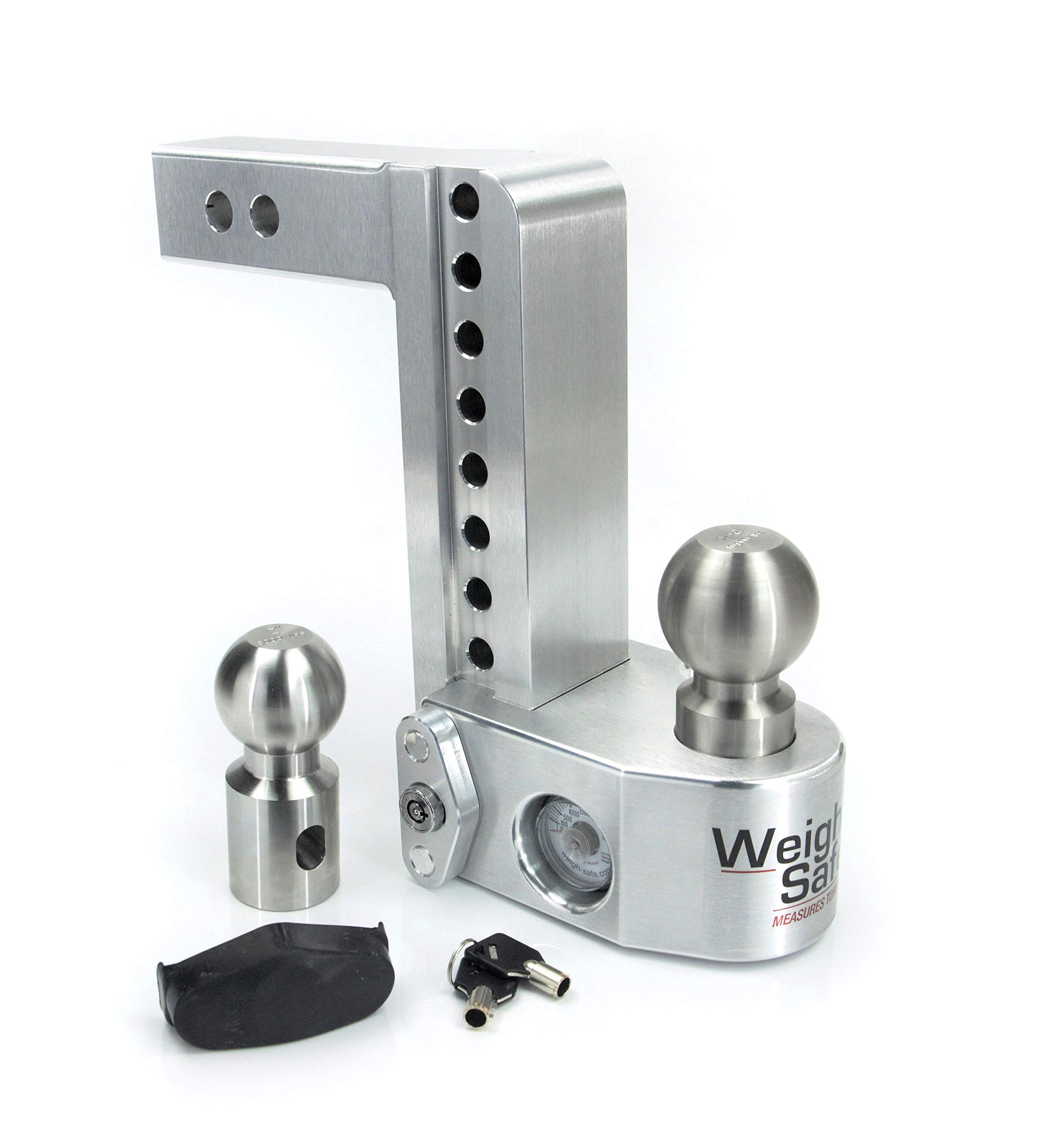 Weigh Safe WS8-2, 8'' Drop Hitch w/ 2'' Shank/Shaft, Adjustable Aluminum Trailer Hitch & Ball Mount w/ Built-in Scale, 2 Stainless Steel Balls (2'' & 2-5/16'') and a Double-pin Key Lock by Weigh Safe