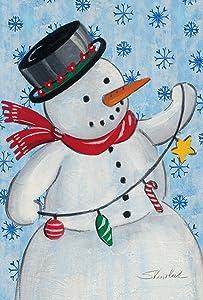 Toland Home Garden Stringin' Snowman 28 x 40 Inch Decorative Colorful Winter Christmas Light Snowflake House Flag
